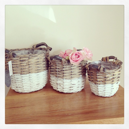 40% off Set Of 3 Contrasting Willow Basket Tall Round
